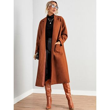 SHEIN Notched Collar Pocket Front Overcoat
