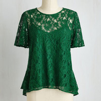 Rustic Short Sleeves All In a Day's Flirt Top in Emerald