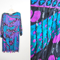 Deco Midi - Vintage 80s Oversized Sequin Beaded Midi Dress