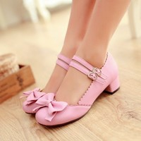 Hot Womens Lolita Mary Janes Buckle Strap Low Heel Pumps Bowknot Shoes Plus Size