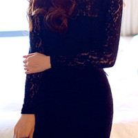 Black Turtle Neck Long Sleeve Lace Bodycon Dress