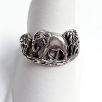 Vintage Sterling Silver Mom and Baby Elephant Antiqued Ring