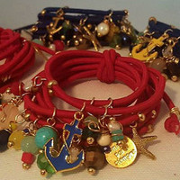 Colorful Fashion/  Stretch cuff/Golden tone charms with multi color beads,  chunky bracelet