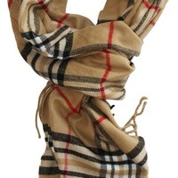 LibbySue-Classic Cashmere Feel Winter Scarf in Rich Plaids in Tan