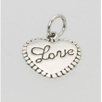 Small Heart Peart with Cursive Love Inscribed .925 Sterling Silver