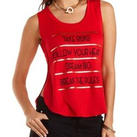 Dream Big Graphic Tulip Slit Tank Top by Charlotte Russe
