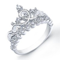 Rhodium-plated Sterling Silver Crown Rings / Princess Ring (6)