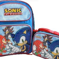 Sega Sonic the Hedgehog Shadow Knuckles Backpack and Lunch Bag Lunchbox tote 2pc Set