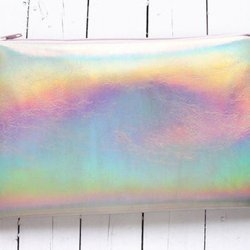 Magic rainbow, Holographic pouch, iridescent bag, small pouch, faux leather, pastel pouch
