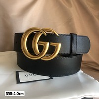 Gucci Women's  Men's Fashion Smooth Buckle Belt Leather Belt Monogram Leather Belt