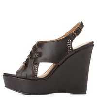 Qupid Laser Cut-Out Slingback Wedge by