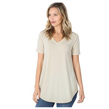 Your New Favorite! Classic V Neck Top - Taupe