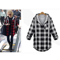 Women Plus Size Autumn Winter Red Plaid Shirt Female 2015 Cotton Long Sleeve Large Size Tops Clothing Hooded
