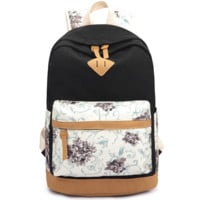 Black Lightweight Canvas Laptop Backpack Cute School Fashion Bag