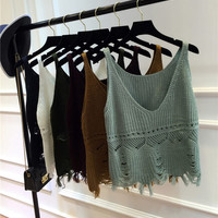 Crochet knitted summer tank top women fashion v neck fringe crop top tanks sleeveless vest shirt fe