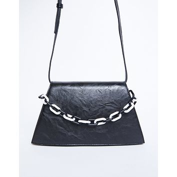 Faux Leather Trapezoid Bag