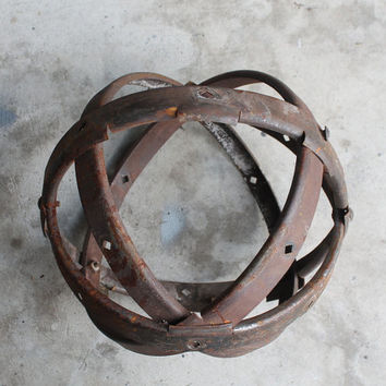Antique Rusty Architectural Remnant, Sphere, Metal Orb, Garden Ornament, 15 Inches
