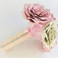 Book page bridal bouquet, Pink book page bouquet, Paper book rose wedding bouquet, Paper book rose bouquet, Paper page bouquet