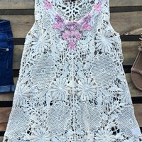 crochet top with embroidery and jewel detail