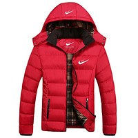 Nike Popular Men Leisure Winter Warm Print Logo Sport Detachable Hooded Zipper Cotton Thick Windbreak Coat Red