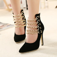 Trendy Gold Chain Strap Black Dress High Heels