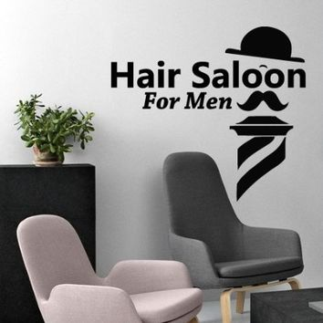 Wall Decal Vinyl Sticker Decals Art Decor Design Hair Salon for Men Best Haircut Beauty Hairstyle Bedroom Fashion Barber Shave Scissors (M1438)