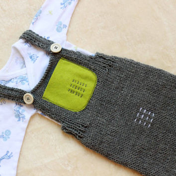 Grey Knit Romper / Newborn Photo Props / Baby Boy Outfit / Newborn Boy Photo outfit