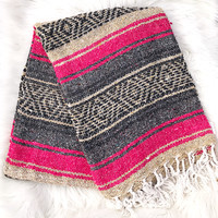 Authentic Mexican Blanket in Pink and Beige