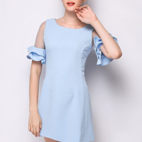 Light Blue Sheer Mesh Ruffle Sleeve Shift Dress
