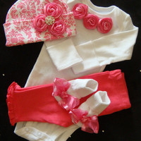NEWBORN baby girl take home outfit 0 3 month size bodysuit set pink damask beanie hat pink pants socks rosettes bows bling