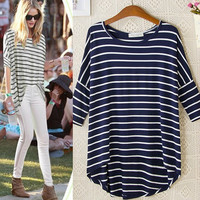Women long T-shirts Fashion 2015 Striped Print O Neck Three Quarter Sleeve Blue T shirt Casual brand tops