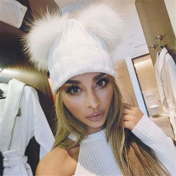 PEAP9GW 2016 Fur Pom Poms Winter Beanies For Woman Knitted Hat Balaclava Fur hat Knitted Thick Female Cap Character Woman Casual Hats