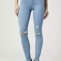 Winter Women's Fashion High Rise Ripped Holes Jeans [6516364743]