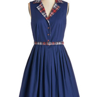 Bea & Dot Vintage Inspired, 50s, Scholastic Mid-length Sleeveless A-line Beacon of Charm Dress in Plaid