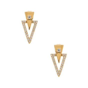 gorjana Shimmer Triangle Double Studs in Metallic Gold
