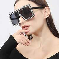2020 new arrivals trendy men's and women's diamond-studded fashion big square sunglasses