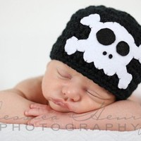 Skull and Crossbones Beanie Hat - Skully Hat  - Baby Skull Hat - Pirate - Black and White - Photo Prop - Made to Order