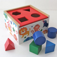 Circus Animals wooden shape Puzzle - Learning toy for babies - Circles, triangles, squares and Octagon puzzle - Waldorf Toy