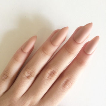 Matte nude stiletto nails, hand painted acrylic nails, fake nails, false nails, stick on nails, nail art, artificial nails