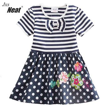 Retail!NEAT New 2017 baby&kids college style butterfly girls dress with short sleeves embroidered wave points short dress H4641