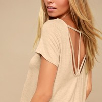 Oakdale Heather Beige Strappy Tee