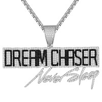 Sterling Silver Dream Chaser Never Sleep Black Icy Pendant