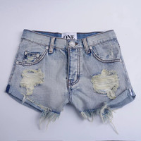 2016 Trending Fashion Retro Vintage Summer Women High Waisted Big Hole Ripped Destroyed Distressed Jeans Denim Shorts _ 9615