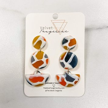 3-Tier Stained Glass Drops Polymer Clay Earrings