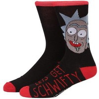 Rick And Morty Let's Get Schwifty Rick Adult Crew Socks - Black