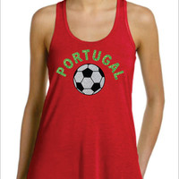 PORTUGAL Flowy Racer Back Tank Top World Cup 2014 Soccer Football Copa do Mundo