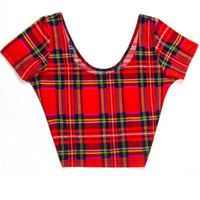 Red Plaid Short Sleeve Crop Top