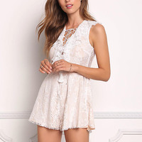 Ivory Floral Laced Lace Up Romper
