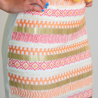 Feel The Groove Skirt: White/Multi