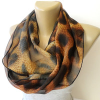 leopard scarf trends ,women infinity scarf ,chiffon scarves ,brown ,fashion accessory ,eternity scarf